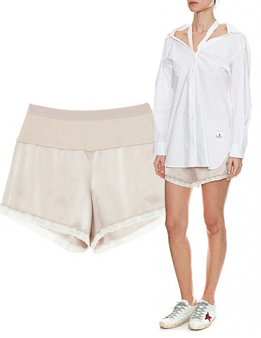 T ALEXANDER WANG Champagne Silk Satin Jersey Combo Shorts NEW WITH TAGS