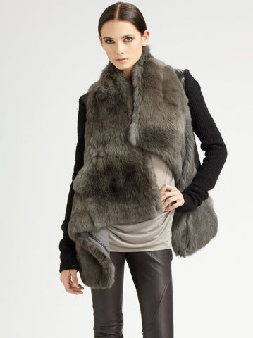 HELMUT LANG Flux Gray Rabbit Fur Jacket Coat S BRAND NEW