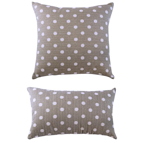 THE WELL DRESSED BED Stone White Ikat Dot Nova Accent Pillow WITH INSERT