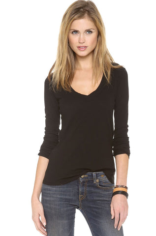 JAMES PERSE Black V-Neck Tee w/Tags, 2/M
