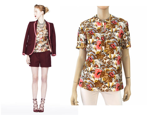 J. CREW COLLECTION Short Sleeve Floral Print Twill Blouse Top