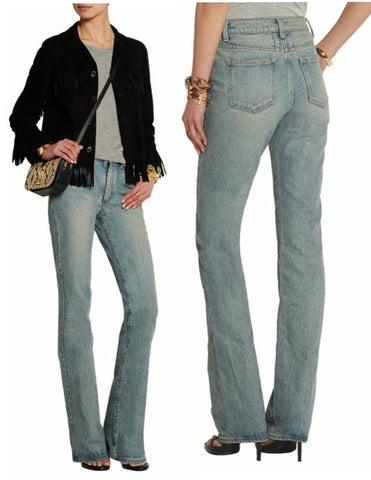 SAINT LAURENT Jeans 24 Light Blue High Rise Flared-Leg  NEW WITH TAGS