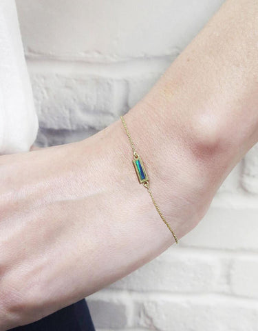JENNIFER MEYER 18K Gold Short Bar Opal Inlay Bracelet BRAND NEW