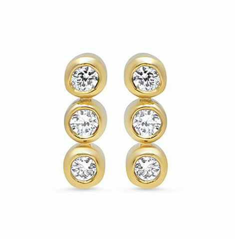 JENNIFER MEYER Women's Three Diamond Mini Bezel Stud Earrings