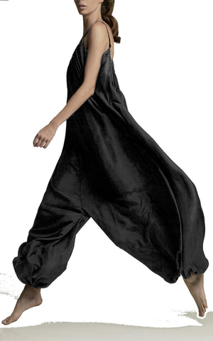 KALITA Balloon Oversized Black Silk Open Back Jumpsuit XS  BRAND NEW