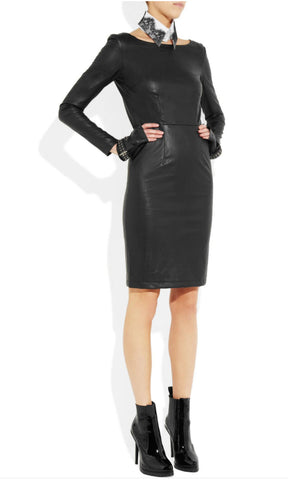 KARL LAGERFELD Dahli Long Sleeve Black Faux Leather Dress 42 US 6 NWT