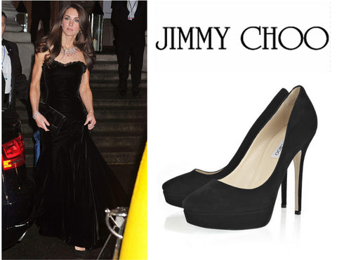 JIMMY CHOO 40 Cosmic Black Suede Platform Pumps Heels 9.5