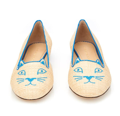 CHARLOTTE OLYMPIA 37.5 Kitty Embroidered Raffia Blue Leather Flats Loafers 7