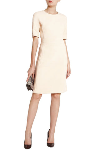 MICHAEL KORS COLLECTION Ivory Winter White Wool Crepe Sheath Dress 14
