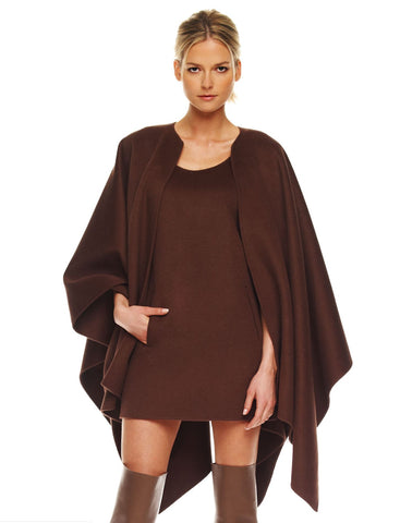 MICHAEL KORS COLLECTION Brown Melton Cape Coat One Size $2795 MSRP