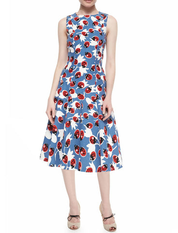 CAROLINA HERRERA Sleeveless Big Ladybug Fit and Flare Grasscloth Midi Dress 16
