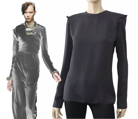 LANVIN Long Sleeve Dust Gray Crepe Ruffle Seam Blouse Top 40 US 8 BRAND NEW