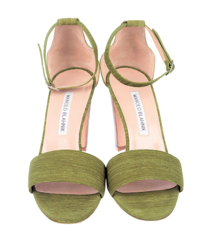 MANOLO BLAHNIK 37 Lauratopri  Textured Green Suede Mid Heel Sandals 6.5