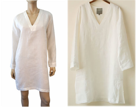 LIBECO HOME Oversize Ivory White Linen Night Shirt S