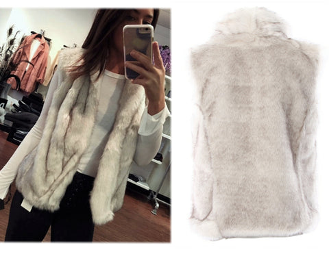 GENERATION LOVE Lita Gray Faux Fur Vest BRAND NEW WITH TAGS
