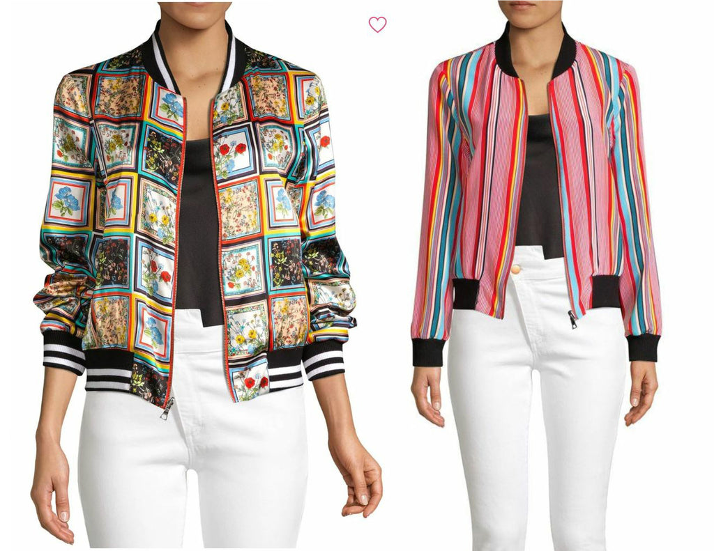 ALICE + OLIVIA Lonnie Reversible Bomber Jacket Freesia Tile Print M NEW WITH TAG