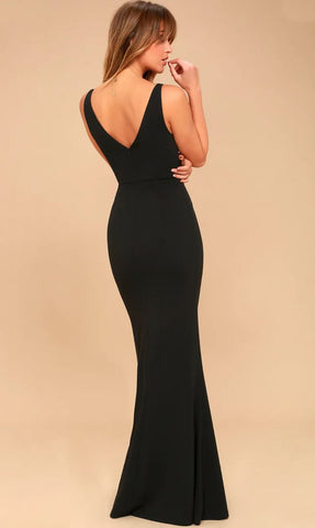 LULUS Melora Sleeveless Black Crepe Maxi Dress XS NWT