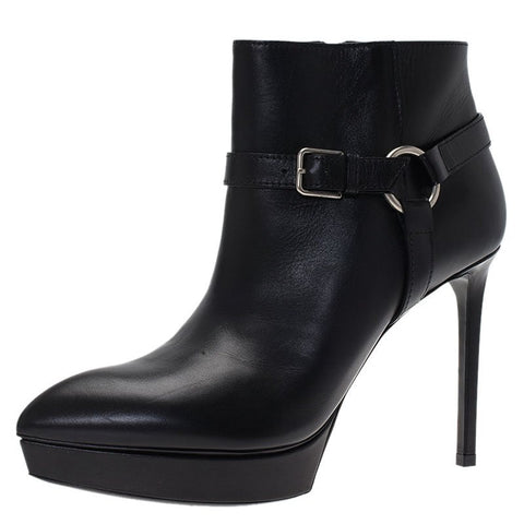 SAINT LAURENT 40.5 Janis 80 Black Leather Ankle Boots Booties 10 NEW