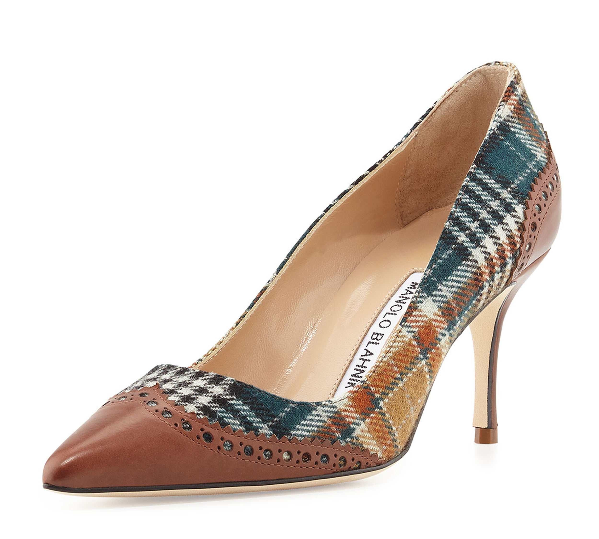 721cc381dd MANOLO BLAHNIK 41 Plaid and Brown Leather Ancor Wingtip Pumps Heels 10.5 NEW