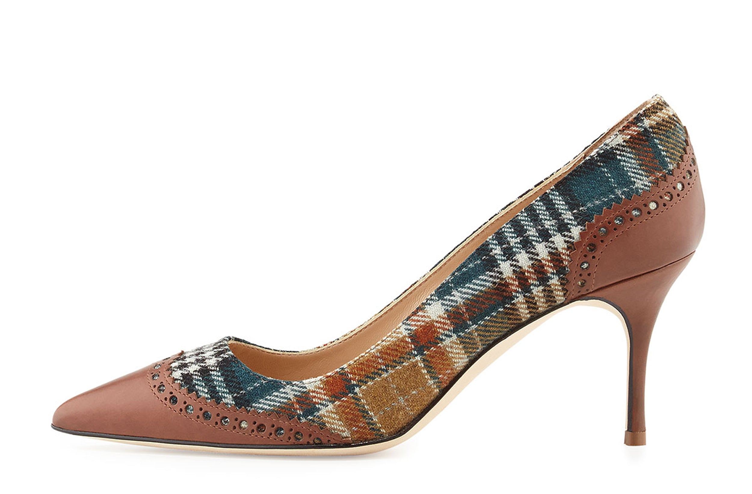 87859aa6d2 MANOLO BLAHNIK 41 Plaid and Brown Leather Ancor Wingtip Pumps Heels 10 –  LaLaStyle