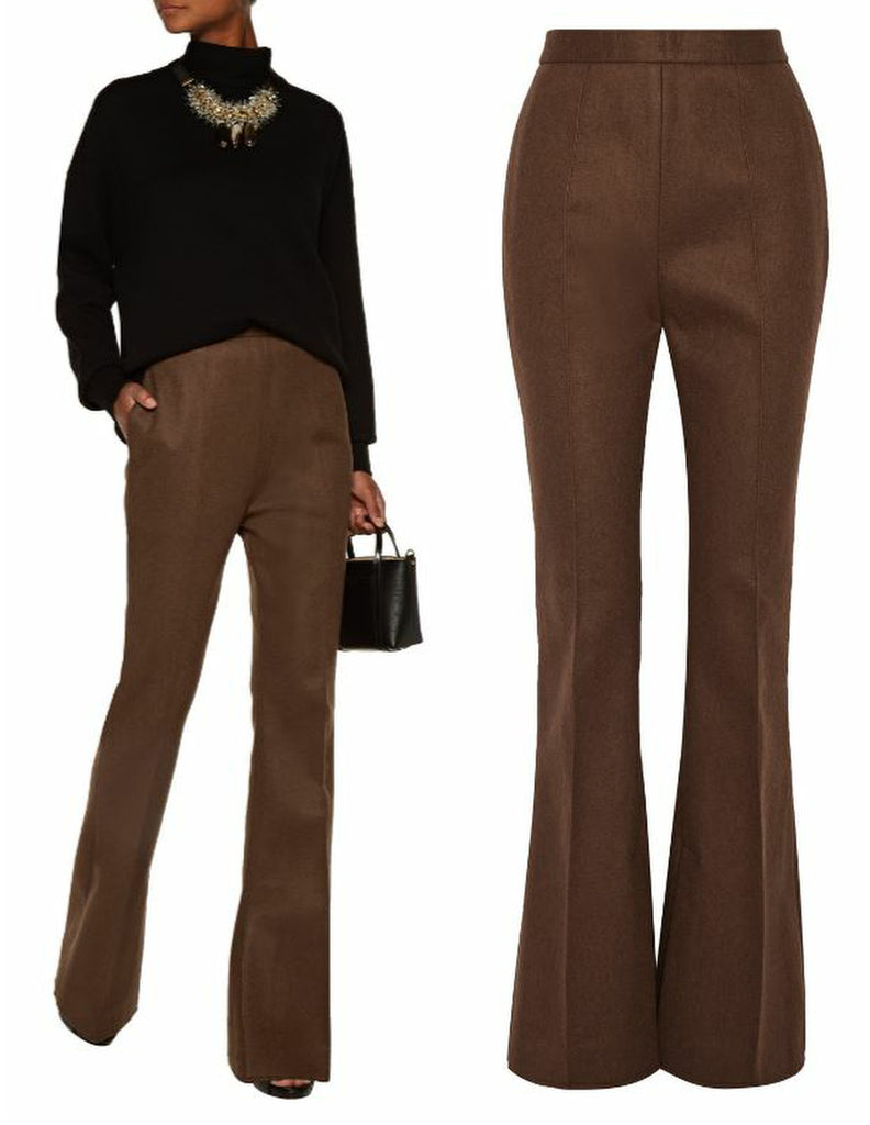 MARNI Felt Flared High-Waist Pants, IT 40 / US 4