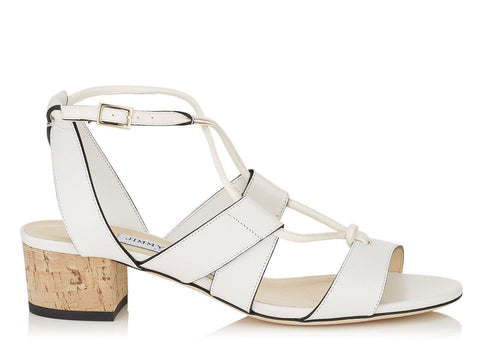 JIMMY CHOO 38 Margo White Leather Cork Low Heel Sandals 7.5 NEW