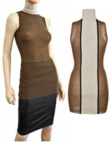 MARNI Sleeveless Colorblock Mohair Wool Nylon Turtleneck Top 40 US 4 NEW