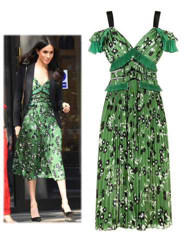 SELF-PORTRAIT Cold Shoulder Green Floral Midi Dress 8 US 4 NEW WITH TAGS