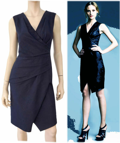 J. MENDEL Sleeveless Leather Panel Navy Stretch Cotton Faux Wrap Dress 6 NEW