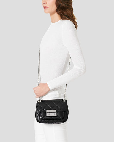 MICHAEL MICHAEL KORS Black Quilted Leather Sloan Small Crossbody Shoulder Bag