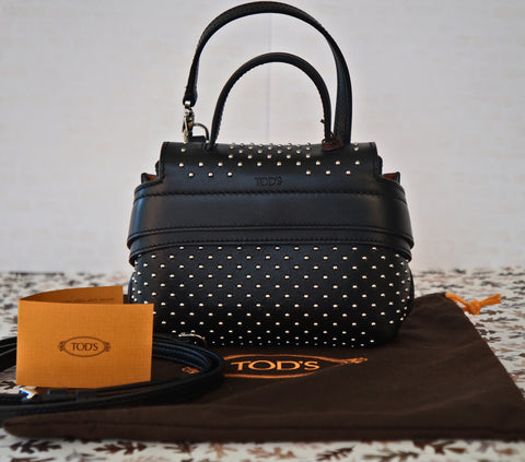 TOD's Wave Charm Micro Studded Black Leather Crossbody Shoulder Bag NEW WITH TAG