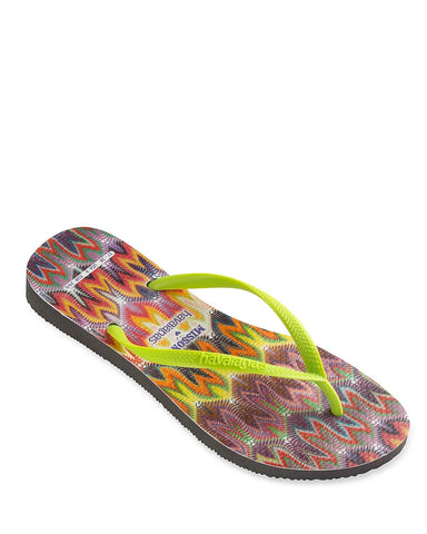 MISSONI + HAVAIANA Acid Yellow Striped Slim Flip Flops US 7-8 NEW
