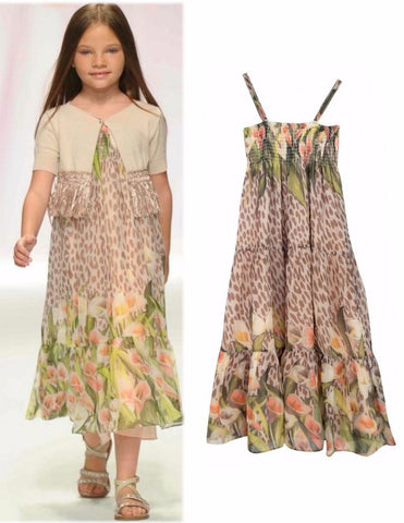 MISS BLUMARINE Girls Sz 8 Floral Animal Print Silk Crepe Maxi Dress NEW