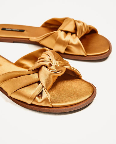 ZARA 40 Bow Satin Slides Honey Gold Sateen 9 NEW WITH TAGS