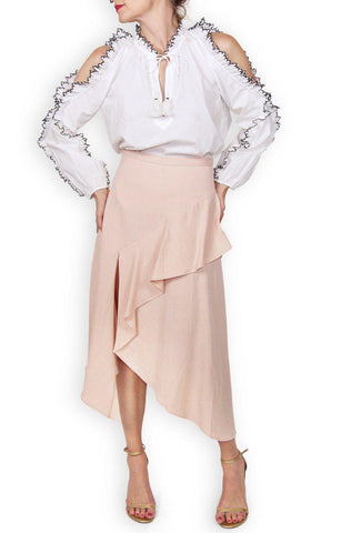 ULLA JOHNSON Nell Asymmetric Blush Pink Ruffle Midi Skirt 4
