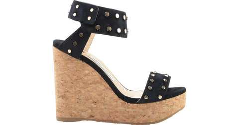 JIMMY CHOO 39 Blue Suede Studded Nelly Wedges Sandals 8.5