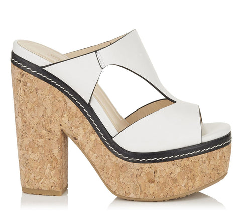 JIMMY CHOO 39.5 Nixie White Leather Cork Platform Sandals Heels 9 NEW