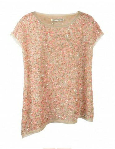 ALL SAINTS Asymmetric Coral Sequin Oil Tee T-Shirt Top UK14 US 10 NEW