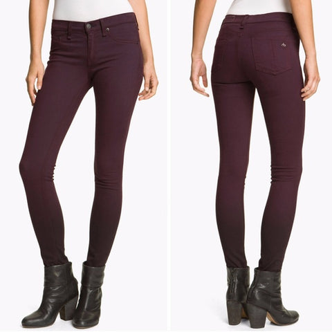 RAG & BONE Biscay Mid Rise The Legging Jeans in Burgundy Wine Ombre 26