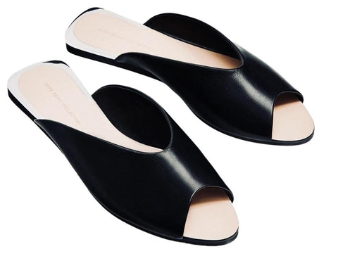 ZARA 40 Black Leather Open Toe Slides Sandals Flats 9 NEW WITH TAGS