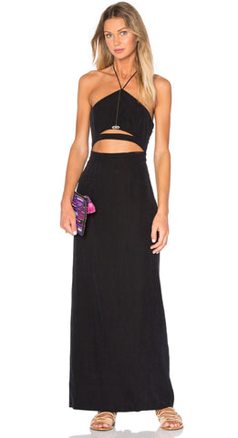 FREE PEOPLE Opium Black Washed Silk Cutout Halter Maxi Dress 4 NEW