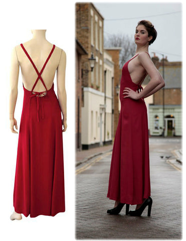 OSSIE CLARK Vintage Red Moss Crepe Halter Maxi Dress 10 US 6