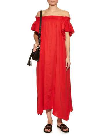LOUP CHARMANT Hydra Off-The-Shoulder Poppy Red Organic Cotton Dress XS