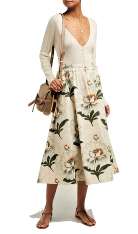 BY WALID Daisy Floral Print Cotton Canvas Midi Skirt S BRAND NEW