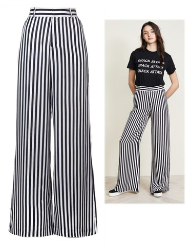 RTA Jupiter Black and White Striped Silk Palazzo Pants XS NEW WITH TAGS