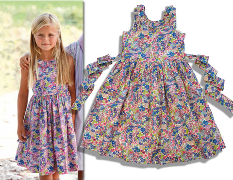 PAPO D'ANJO Girls Sleeveless Floral Cotton Poplin Dress 8 BRAND NEW