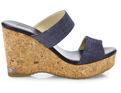 JIMMY CHOO 37 Parker Indigo Blue Denim and Cork Wedge Platform Sandals 6.5 NEW