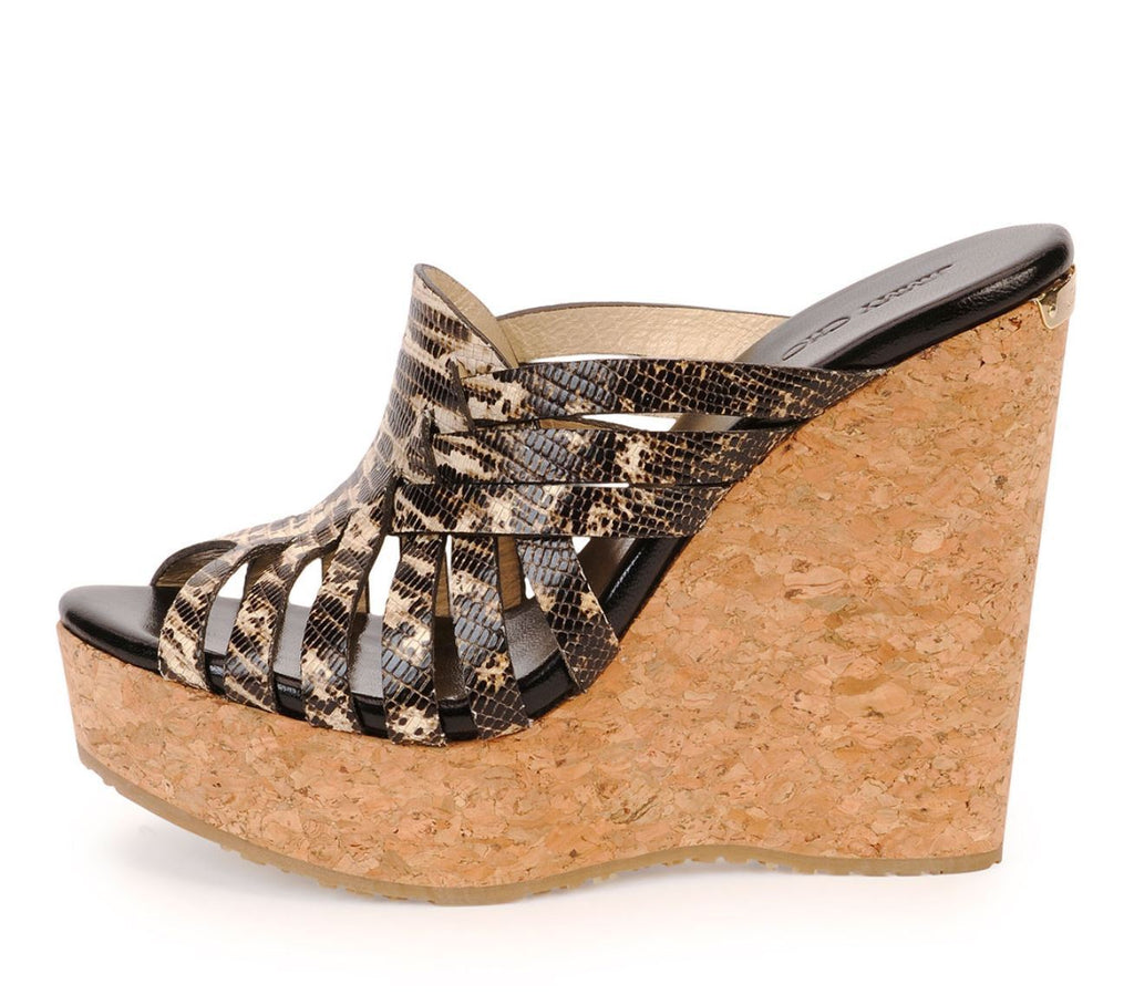JIMMY CHOO 37.5 Pedra Multi Color Lizard Print Cork Wedges Sandals 7