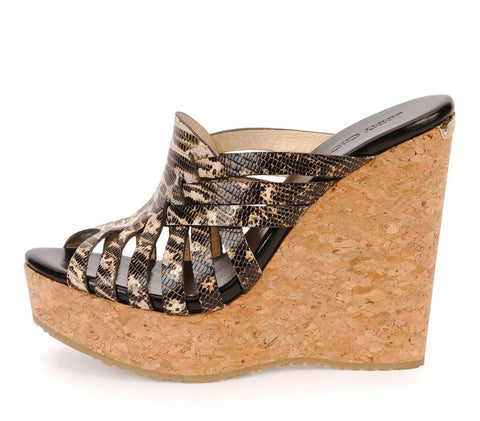 JIMMY CHOO 39.5 Pedra Multi Color Lizard Print Cork Wedges Sandals 9