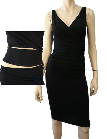 LA PERLA Black Stretch Crepe Double Slash Waist Wiggle Dress 42 US 6